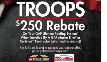GAF Roofs For Troops Rebate!