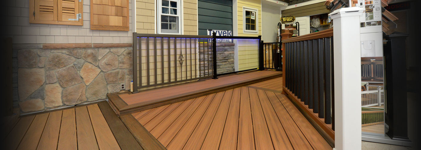 Decking and siding materials display at New Castle Building Products