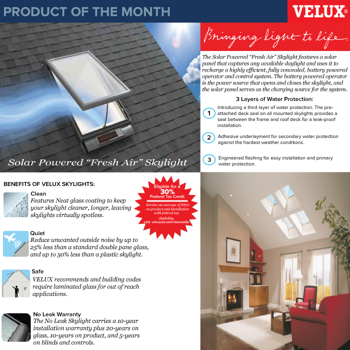 Product Of The Month Velux Skylights New Castle Building Products