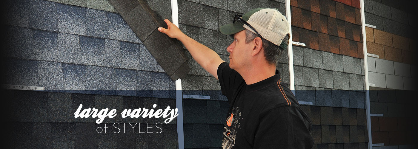 Roofing shingles display at New Castle Building Products