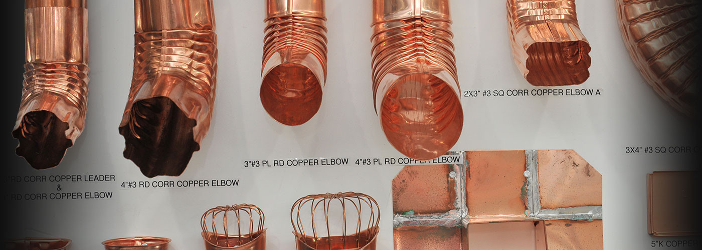 Copper materials display at New Castle Building Products